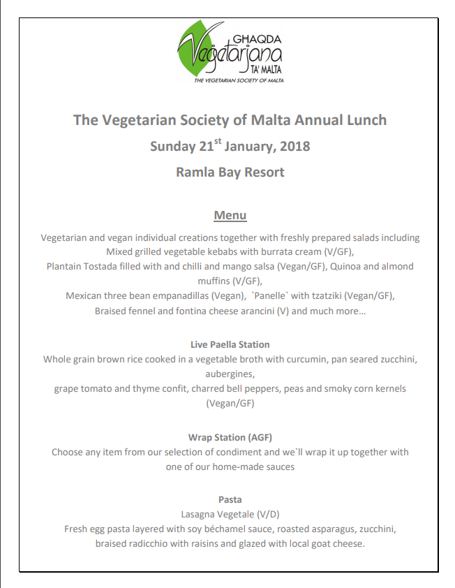 vegetarian society malta 2018 lunch menu pg1