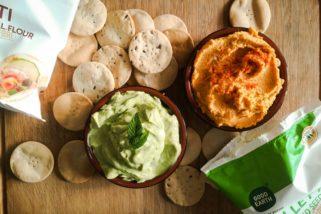 Dip Combo: Sweet Potato Hummus/Creamy Mint Avocado Dip