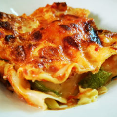 Lasagne with aubergines and Fior di Vita Halloumi with Chilli