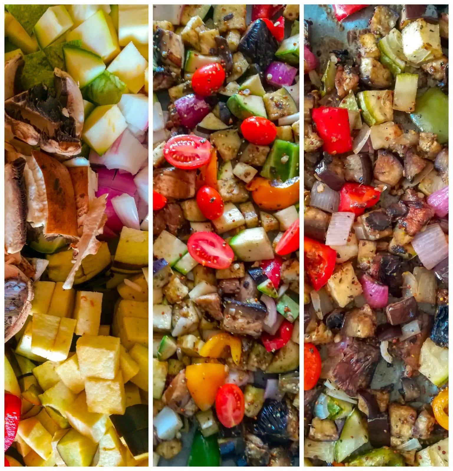 ramona debono making balsamic roasted vegetable fusilli