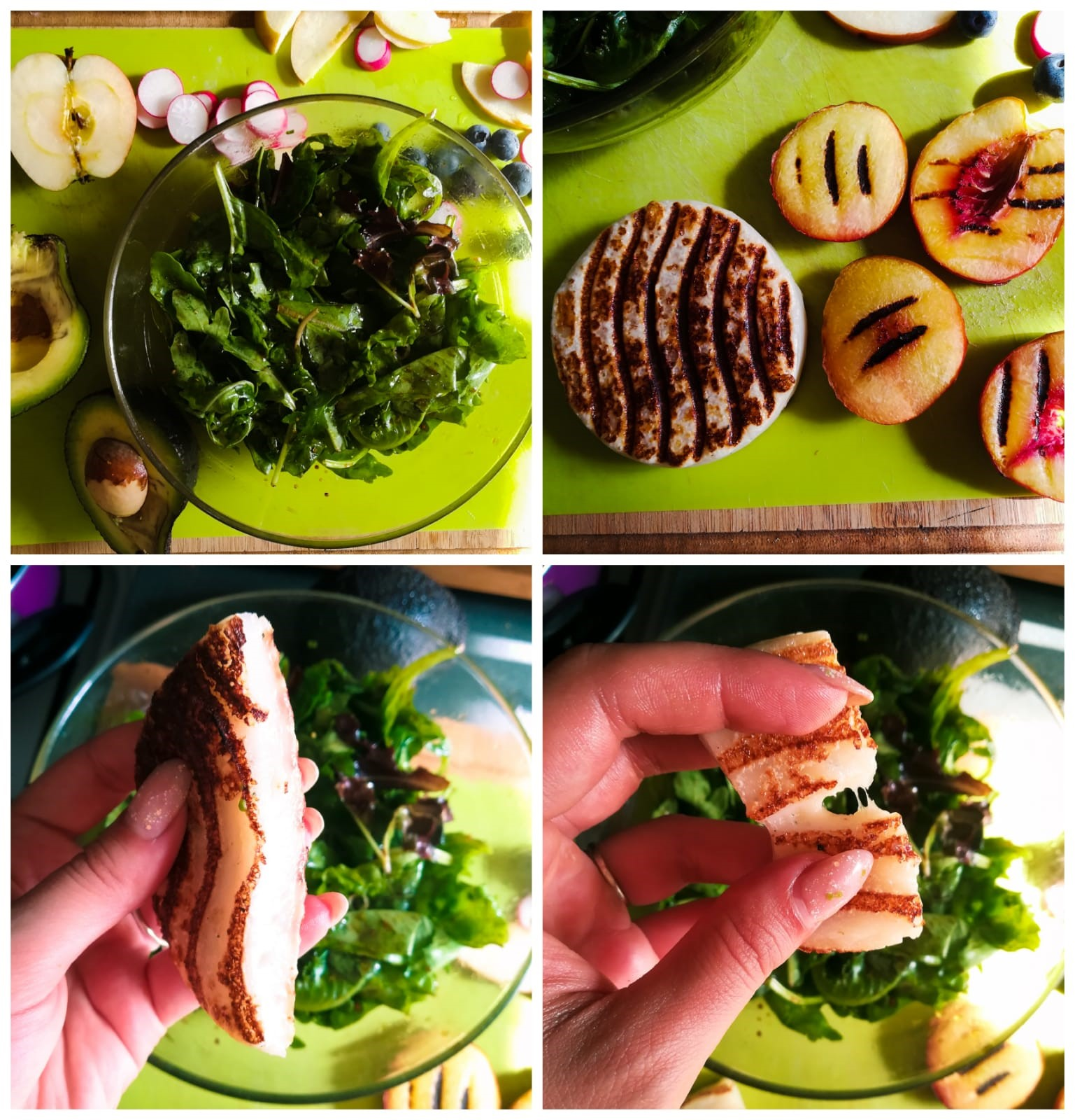 Ramona Debono Vegan Halloumi and Fruity Quinoa Summer Salad making