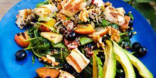 Vegan Halloumi and Fruity Quinoa Summer Salad