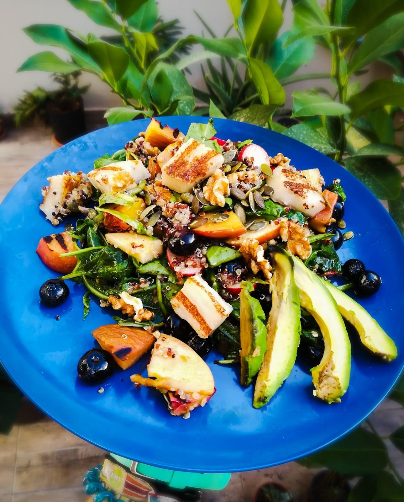 Ramona Debono Vegan Halloumi and Fruity Quinoa Summer Salad plated