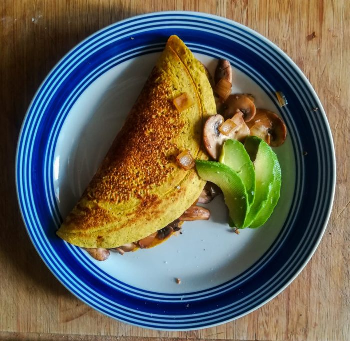 Mushroom Stuffed Chickpea Omelette