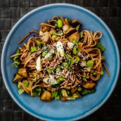 Stir-Fried Noodles with Aubergines and Basil
