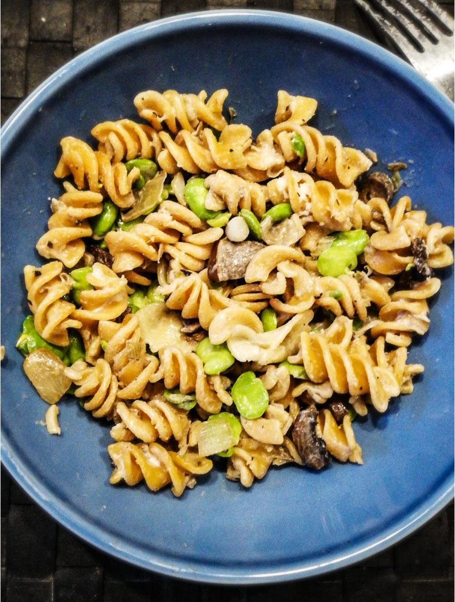 ramona-debono-Seasonal-Fava-Bean-and-Mushroom-Pasta-veggymalta-vegan-food