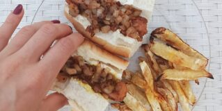 American-style hot dogs with celery root fries