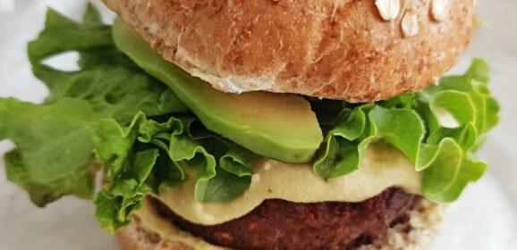 Beyond burger with vegan hollandaise sauce