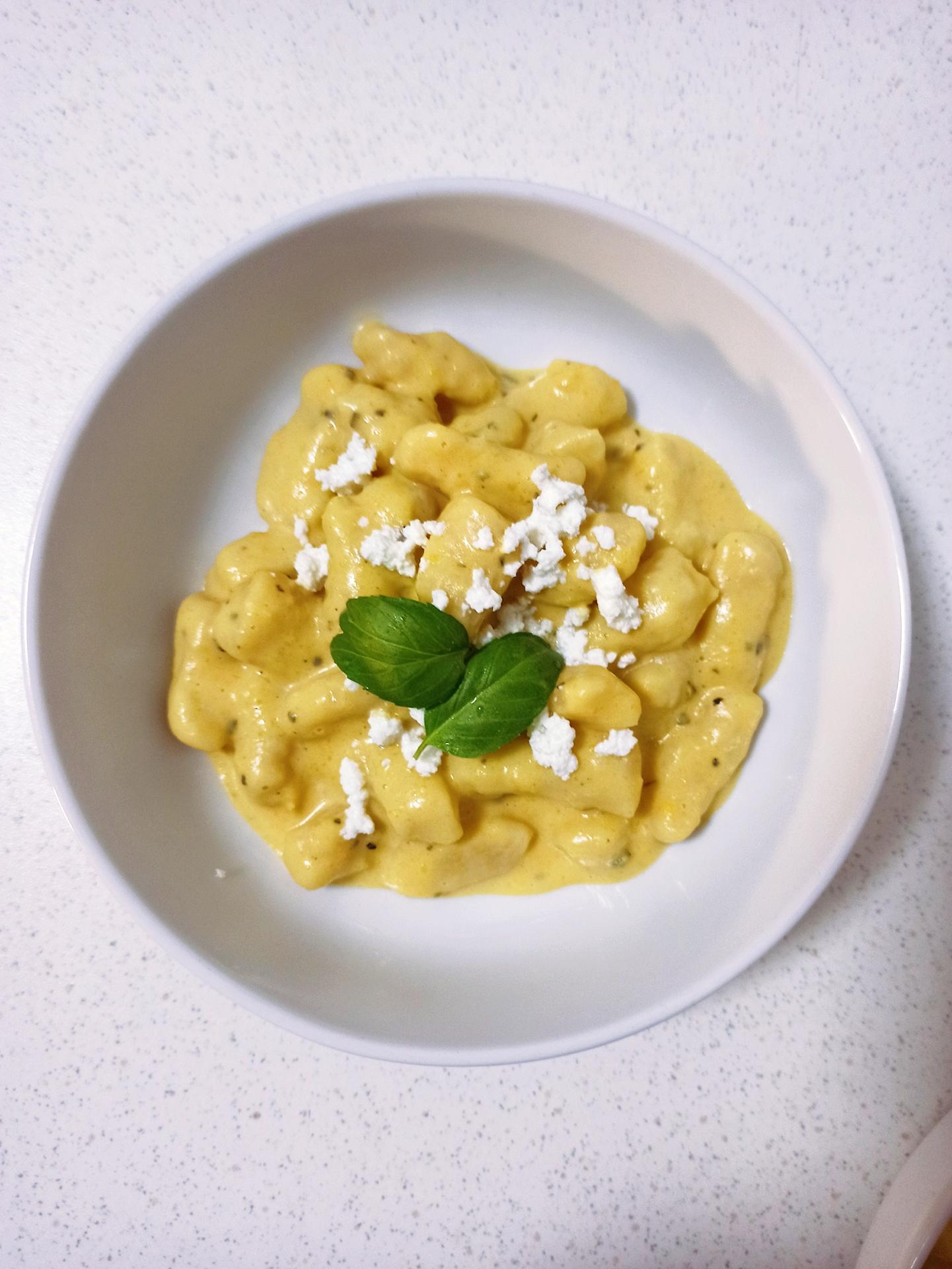 Home-made butternut squash gnocchi