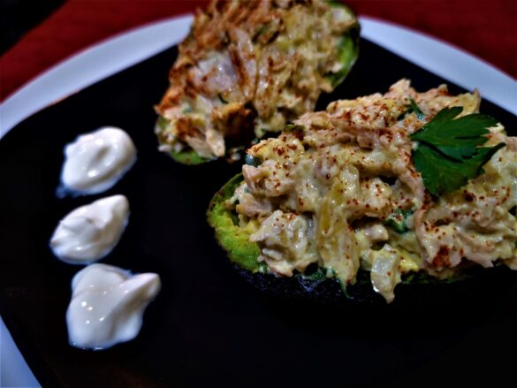 meat free chicken stuffed avocado