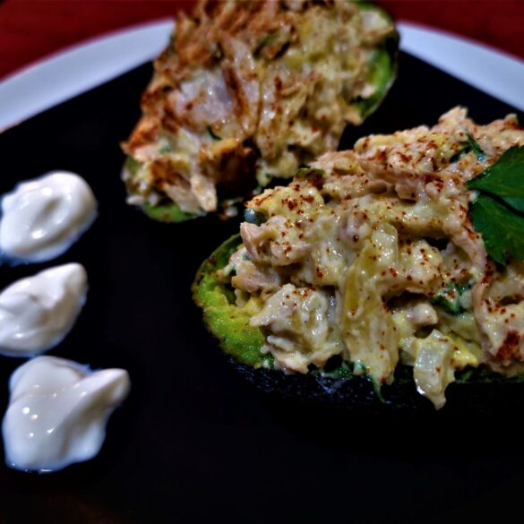 meat free chicken stuffed avocado